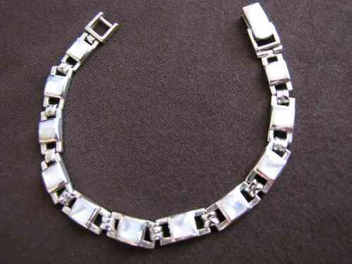 Silver White Mother of Pearl Bracelet