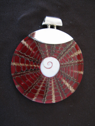 Silver Shell and Resin Pendant