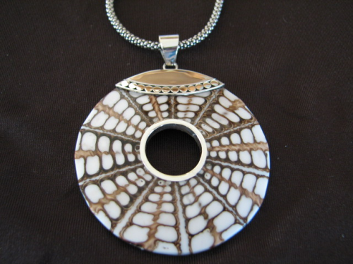 Silver Shell and White Resin Pendant