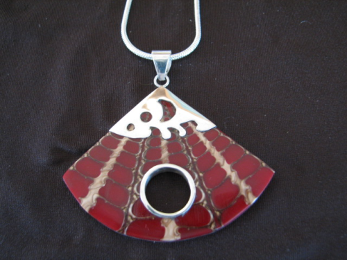 Silver Shell and Red Resin Pendant