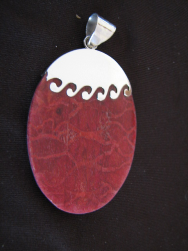 Silver Wave Red Sponge Coral Pendant