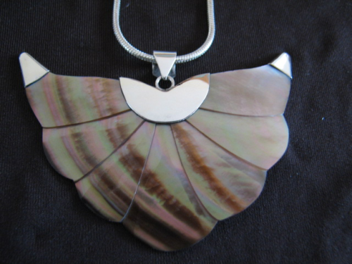 Silver Mother of Pearl Wings Pendant