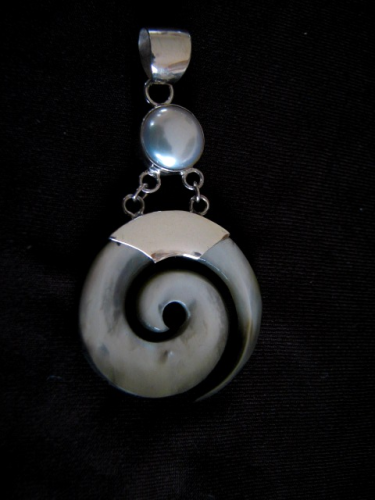 Silver Mother of Pearl and Pearl Pendant