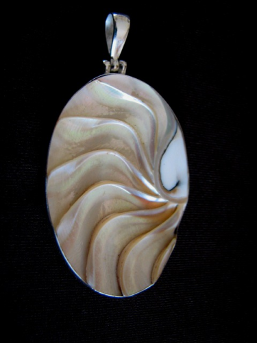 Oval Silver Shell Pendant
