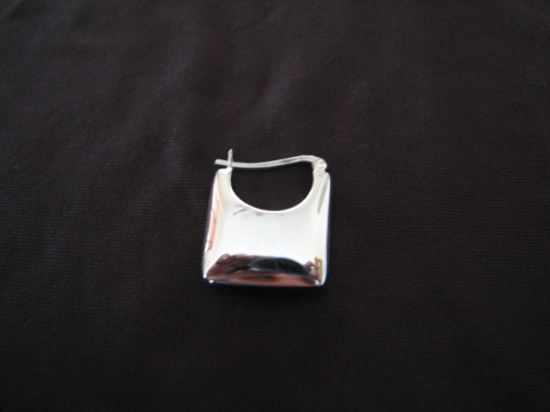 Silver Square Convex Hoop Earrings