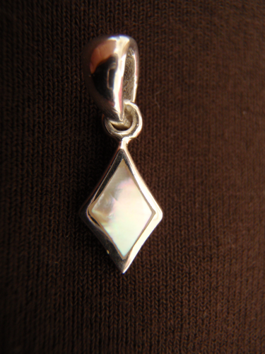 Silver Diamond Mother of Pearl Pendant