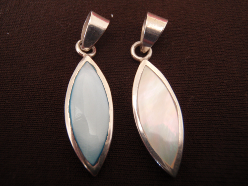 Silver Ellipse Mother of Pearl Pendant