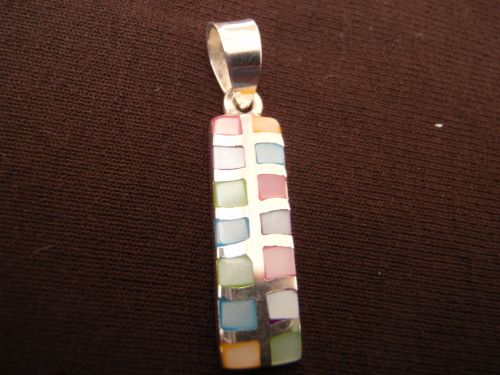Rectangle Silver Mother of Pearl Pendant