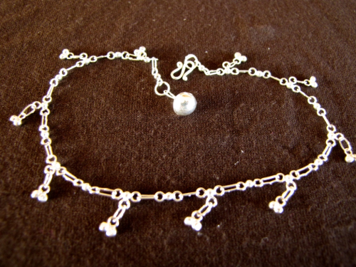 Silver Ankle Chain with Balls Charms