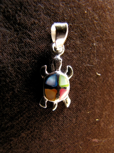 Silver Turtle Mother of Pearl Pendant