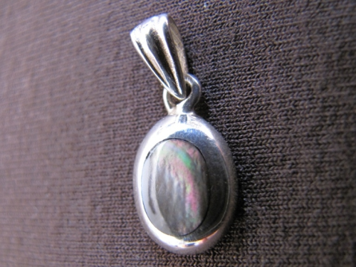Tiny Silver Oval Mother of Pearl Pendant