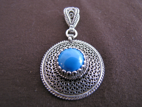 Silver Turquoise Filigree Pendant