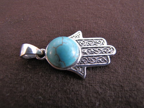 Silver Turquoise Hand of Fatima Pendant