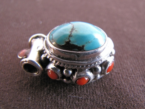 Silver Turquoise and Coral Pendant