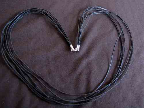 Silver Leather Strands Choker