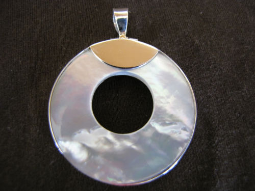 Silver Mother of Pearl Hoop Pendant