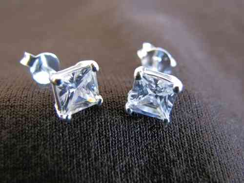 Silver Square Cubic Zirconia Earrings