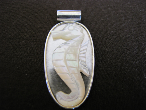 Silver Mother of Pearl Seahorse Pendant