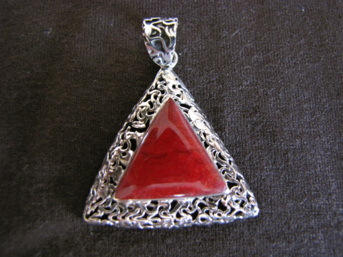 Silver Triangular Red Coral Pendant