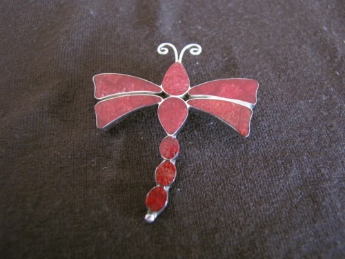 Silver Red Coral Dragonfly Pendant