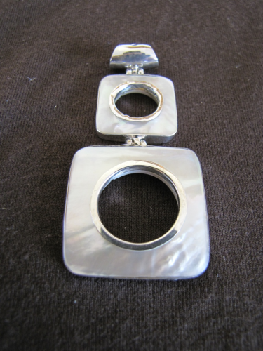 Silver Mother of Pearl Squares Pendant