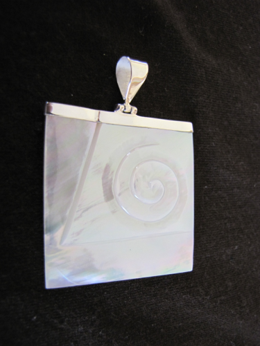 Silver Mother of Pearl Carved Pendant