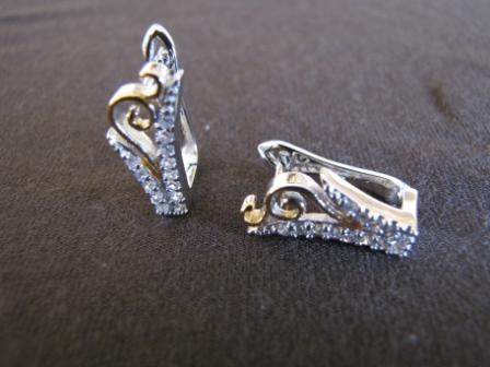 Silver and Gold Cubic Zirconia Earrings