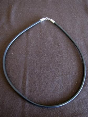 Black Silicon Choker, Silver Fittings