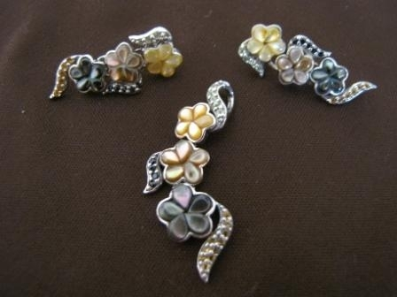 Silver Cascade of Flowers Pendant