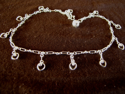 Silver Hearts and Bells Ankle Chain