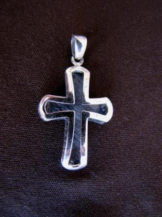 Curved Silver 3d Cross Pendant