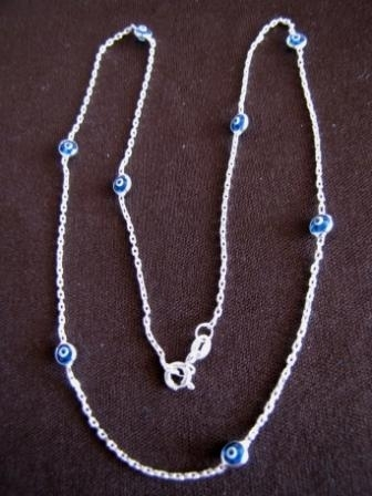 Silver Trace Chain Evil Eye Necklace