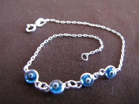 Silver Light Blue Evil Eye Bracelet