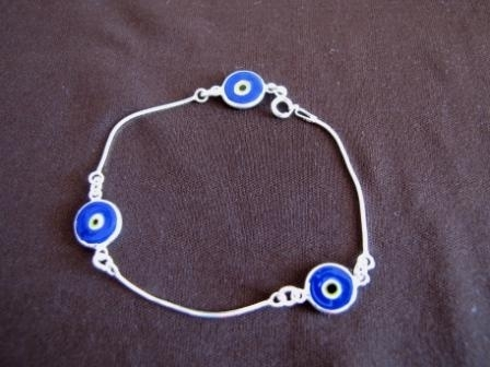 Silver Dark Blue Evil Eye  Bracelet