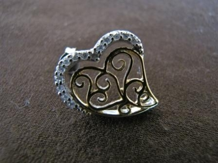 Silver and Gold Heart Stud Earrings