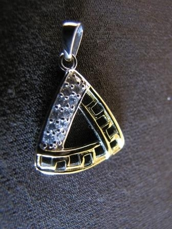 Silver and Gold Triangular Pendant