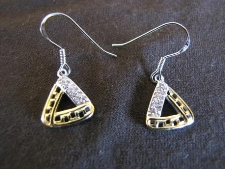Silver and Gold Triangular Earrings