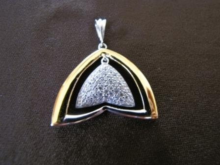 Silver and Gold Cubic Zirconia Pendant