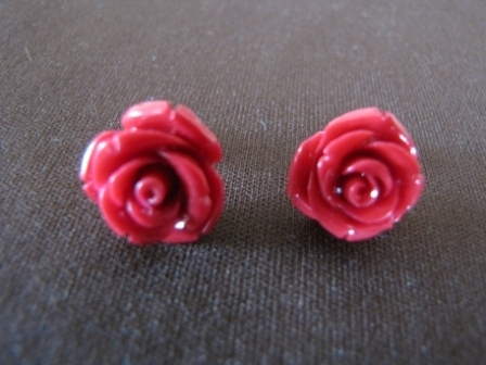 Silver Red Coral Coloured Rose Earrings