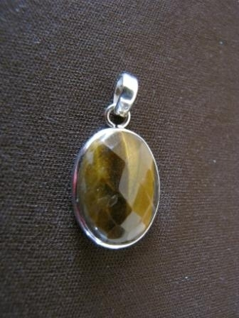 Oval Silver Tiger's Eye Pendant