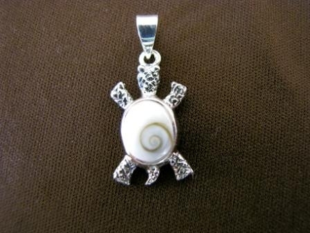 Silver Eye of Shiva Shell Turtle Pendant