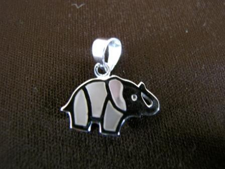 Silver Mother of Pearl Elephant Pendant