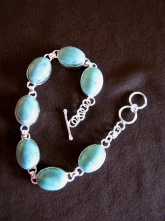 Silver Oval Turquoise Bracelet