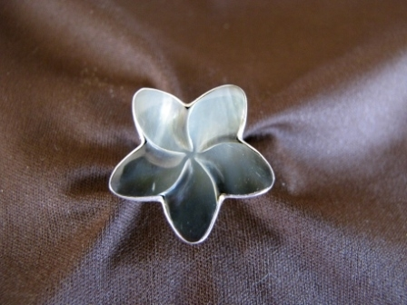 Silver Mother of Pearl Frangipani Ring