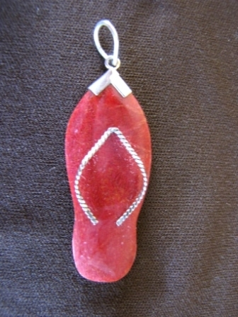 Silver Red Coral Flip Flop Pendant