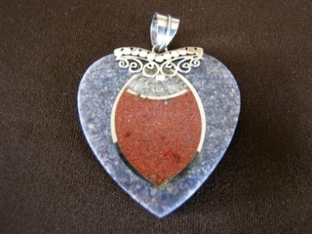 Silver Blue and Red Heart Pendant