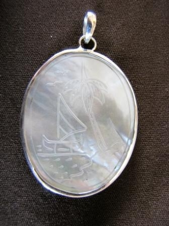 Silver Carved Mother of Pearl Pendant