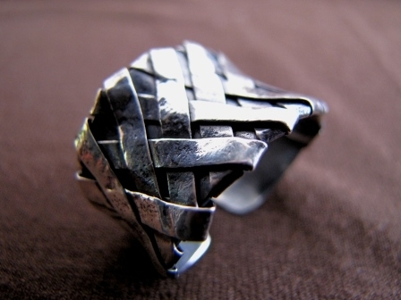 Oxidised Silver Woven Strips Ring