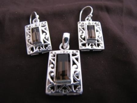 Silver Rectangular Smoky Quartz Pendant