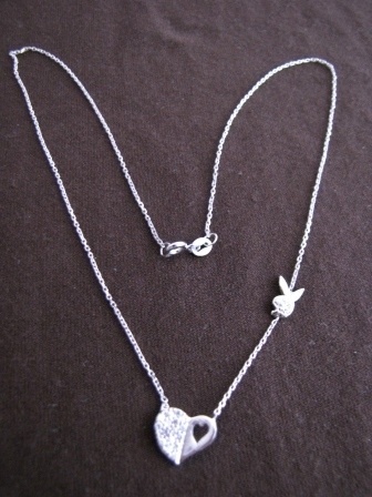Silver Heart and Bunny Necklace